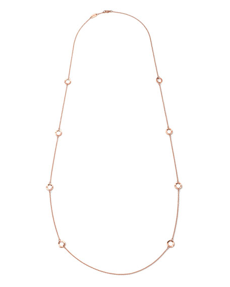 18K Rose Gold Glamazon Mini Wavy Circle Necklace, 40""