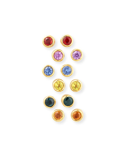 22K Mixed Sapphire Bezel Stud Earrings, Set of 6