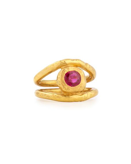 Fleur 22K Gold Ruby Ring, Size 6