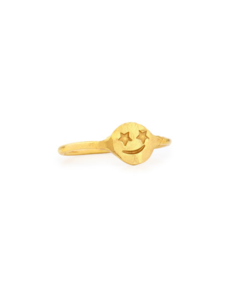 22K Yellow Gold Star Smiley Ring, Size 7