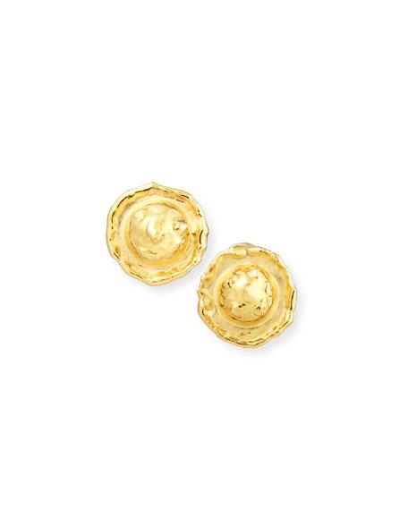 Jean Mahie Euca 22K Yellow Gold Stud Earrings