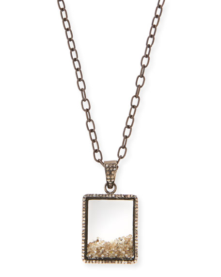 "Diamond Box Pendant Necklace, 35"""