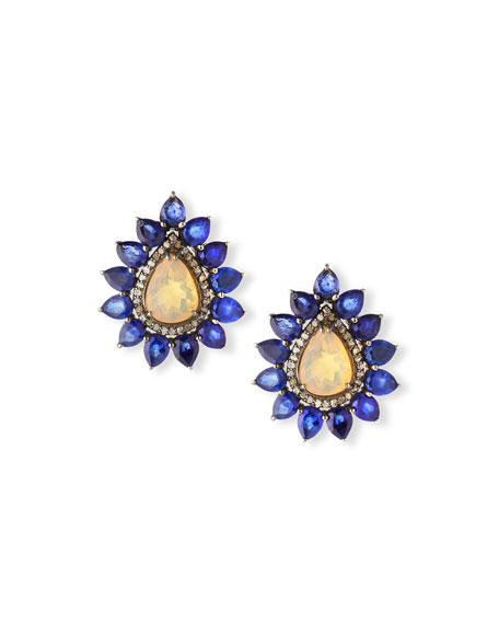 Siena Jewelry Opal & Sapphire Flower Earrings w/Diamonds