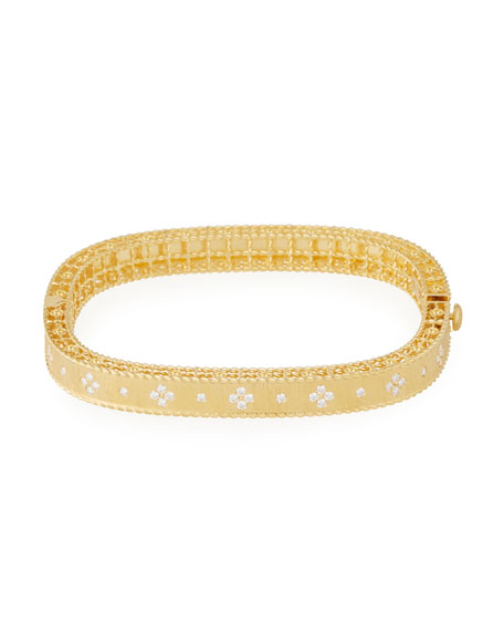 Princess 18K Yellow Gold Narrow Diamond Bangle