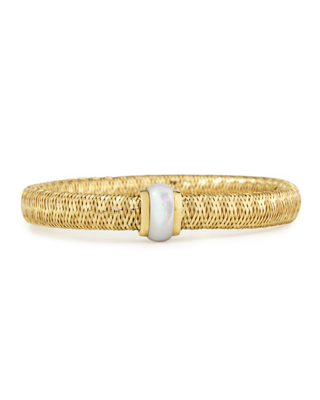 Roberto Coin Primavera 18K Yellow Gold Mother of Pearl Station Bracelet