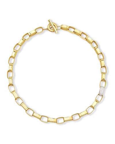 Princess 18K Yellow Gold Single Diamond Link Necklace