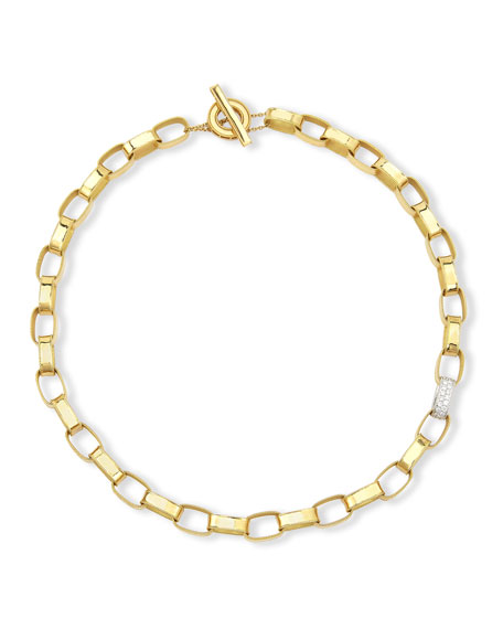 Princess 18K Yellow Gold Single Diamond Link Necklace