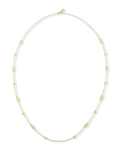 Barocco 18K Yellow Gold Diamond Station Necklace, 36""
