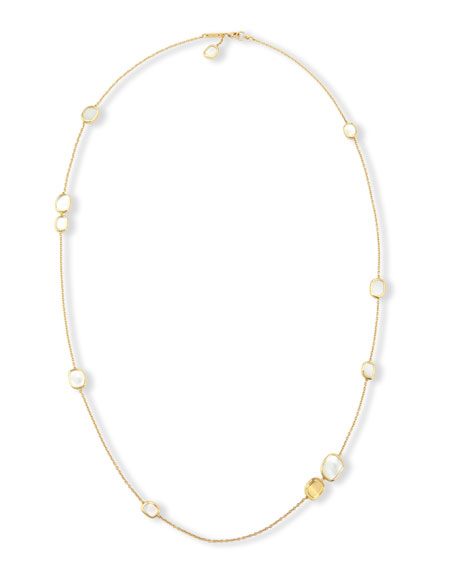 Mother-of-Pearl 18K Yellow Gold Station Necklace, 31