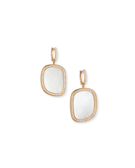 Roberto Coin Mother-of-Pearl 18K Rose Gold Diamond-Edge Earrings