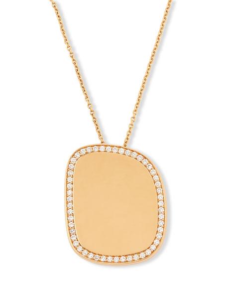 Golden Jade 18K Rose Gold Polished Pendant Necklace w/Pavé Diamonds