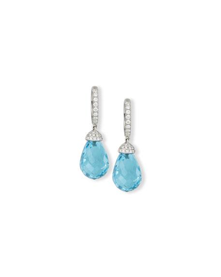 Rina Limor 18K White Gold & Blue Topaz Briolette Earrings