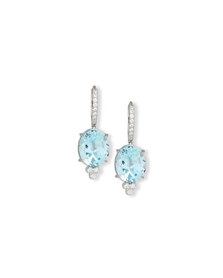 Rina Limor 18K White Gold & Blue Topaz Oval Drop Earrings