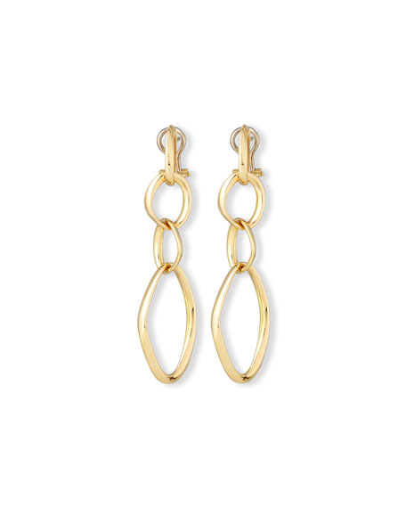18K Gold Abstract Link Drop Earrings