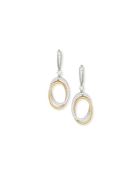 18K White & Yellow Gold Interlocking Diamond Oval Earrings