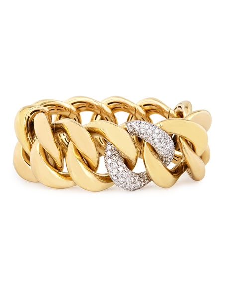 18K Yellow Gold Stretch-Link Bracelet with Pavé Diamonds