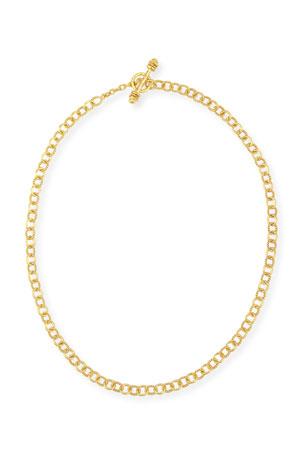 "Elizabeth Locke Tiny Sicilian 19K Gold Link Necklace, 18"""