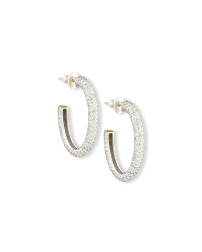 Galahad Pavé Diamond J Hoop Earrings