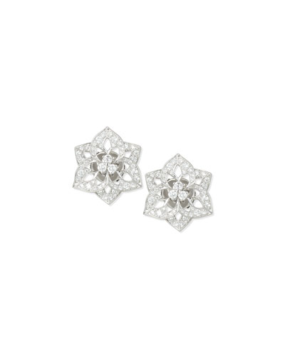 Pensee 18K White Gold Diamond Stud Earrings