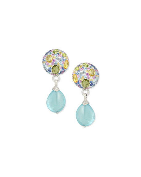 Margot McKinney 18K White Gold Multi-Stone & Aquamarine Drop Earrings