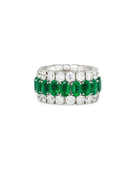 18K White Gold Expanding Emerald & Diamond Ring