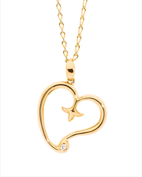 18K Yellow Gold Gypsy Heart Pendant w/Diamond