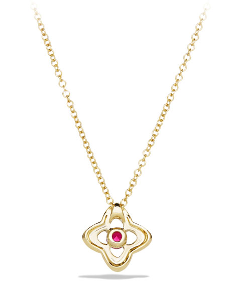 5mm Venetian Quatrefoil Ruby Necklace
