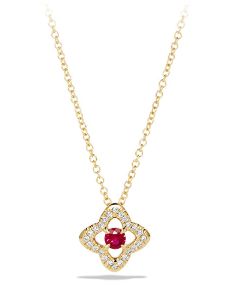 David Yurman 5mm Venetian Quatrefoil Ruby Necklace
