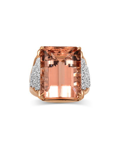 18K Pink Gold One and Only Morganite Ring, Size 7