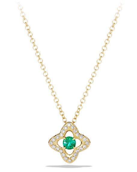 David Yurman 5mm Venetian Quatrefoil Emerald Necklace
