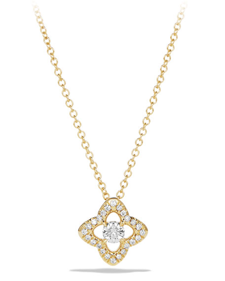 David Yurman 5mm Venetian Quatrefoil Diamond Necklace