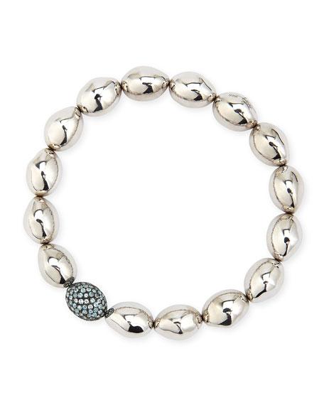 Molten Sterling Silver & Blue Topaz Bead Stretch Bracelet