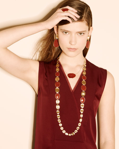 """Marco Bicego Lunaria Double Wave Red Jasper Necklace, 39.5"""""""