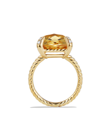 Châtelaine 18k Gold Citrine Ring w/ Diamonds, Size 6