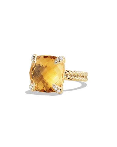 Châtelaine 18k Gold Citrine Ring w/ Diamonds, Size 8