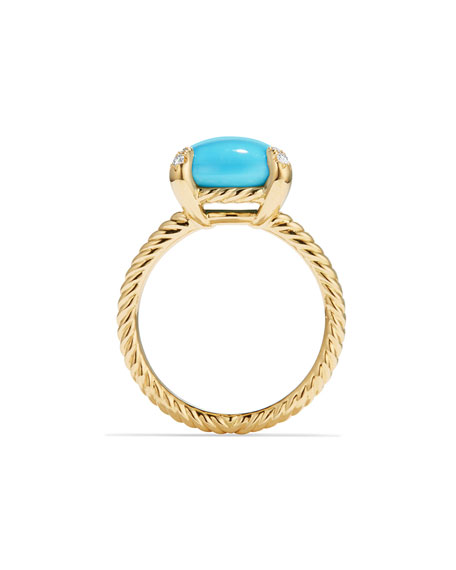 Châtelaine 18k Gold 11mm Turquoise Ring w/ Diamonds, Size 6