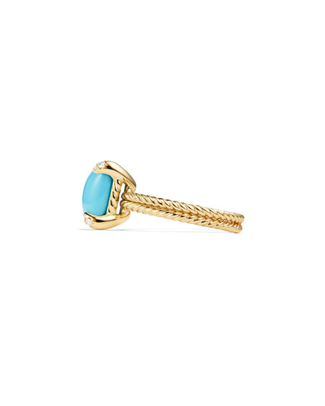 Châtelaine 18k Gold 11mm Turquoise Ring w/ Diamonds, Size 7
