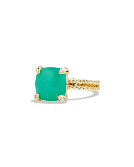 DAVID YURMAN Châtelaine 18k Gold 11mm Chrysoprase Ring