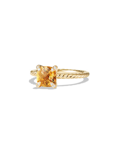 David YurmanChâtelaine Faceted Citrine & Diamond Ring, Size