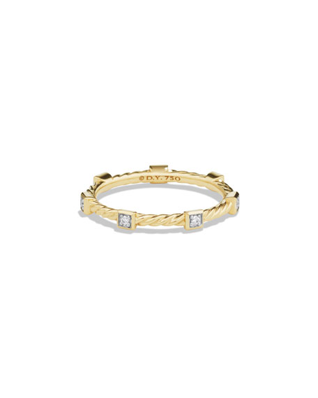 David Yurman Cable Collectibles 18K Diamond Stacking Ring,