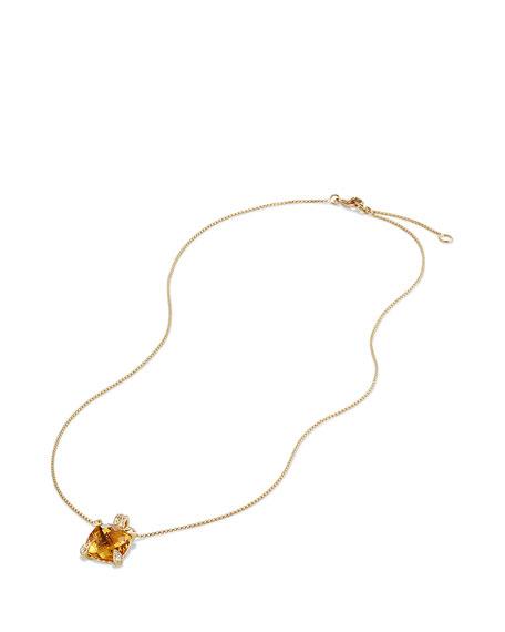 Châtelaine 11mm Faceted Citrine & Diamond Pendant Necklace