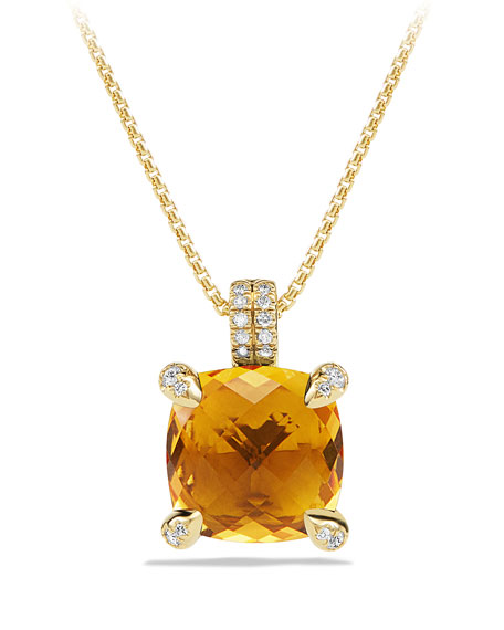 Châtelaine 11mm Faceted Citrine & Diamond Pendant Necklace