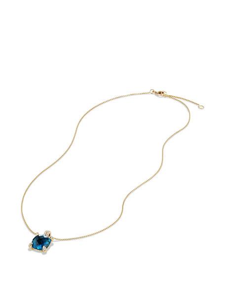 Châtelaine 11mm Faceted Hampton Blue Topaz & Diamond Pendant Necklace