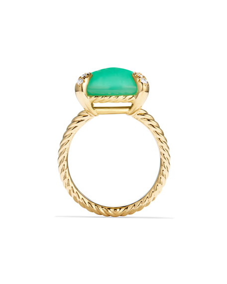 Châtelaine 18k Gold 14mm Chrysoprase Ring w/ Diamonds, Size 7