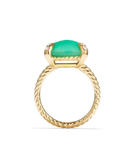 Châtelaine 18k Gold 14mm Chrysoprase Ring w/ Diamonds, Size 7