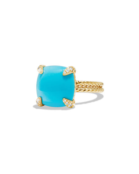 Châtelaine 18k Gold 14mm Turquoise Ring w/ Diamonds, Size 7