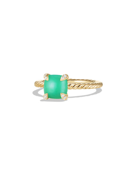 David Yurman Châtelaine 18k Gold 7mm Chrysoprase Ring