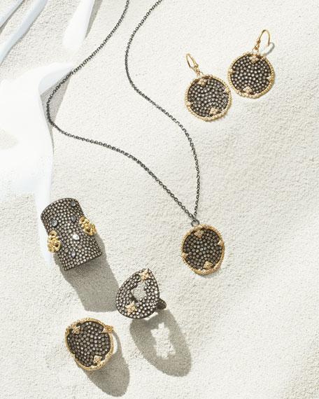 "Old World Midnight Pavé Diamond Disc Pendant Necklace, 32""L"