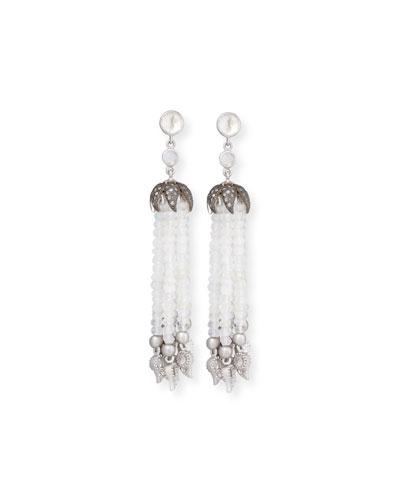 Vitality Diamond & Moonstone Tassel Earrings
