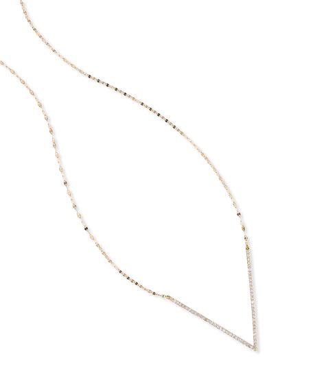 14K Expose Link Necklace with Diamond V Pendant